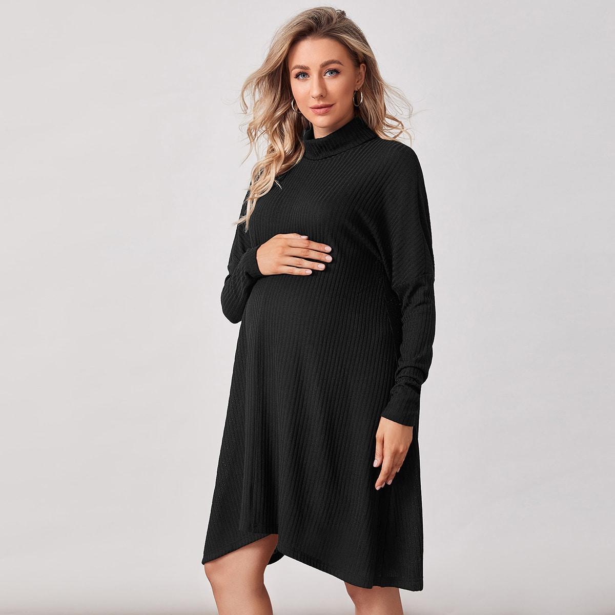 Асимметричный Одноцветный Повседневный Платья для беременных от SHEIN
