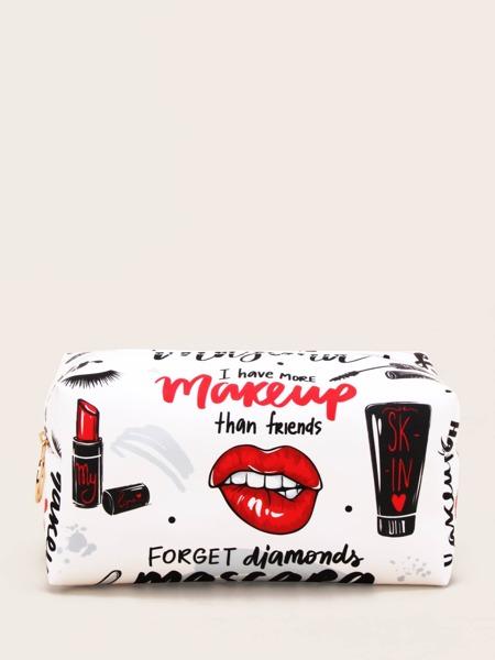 Lip & Letter Graphic Makeup Bag