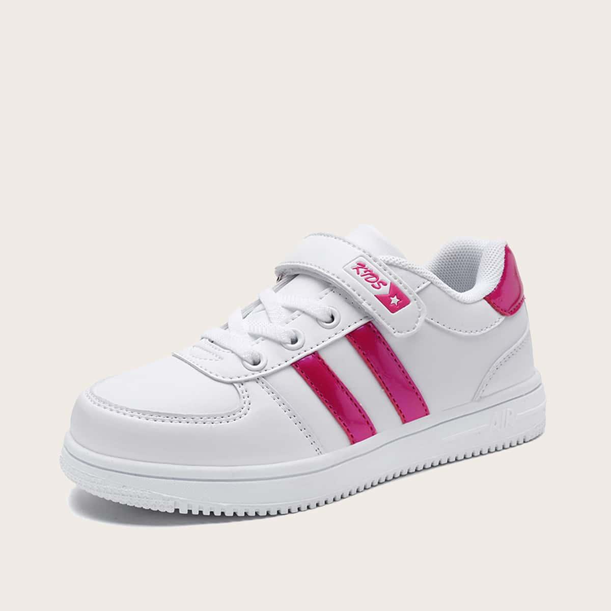 Туфли на липучке с полосатым принтом для девочек от SHEIN