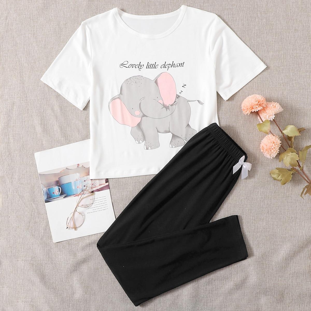 SHEIN / Cartoon Graphic Bow Front Pajama Set