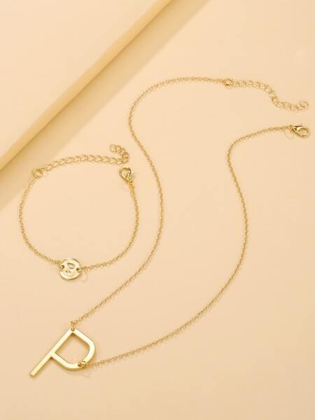 Letter Decor Necklace & Bracelet