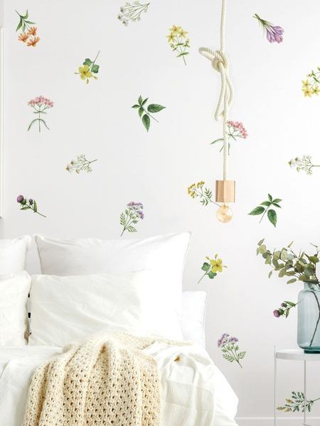 1set Flower Print Wall Sticker