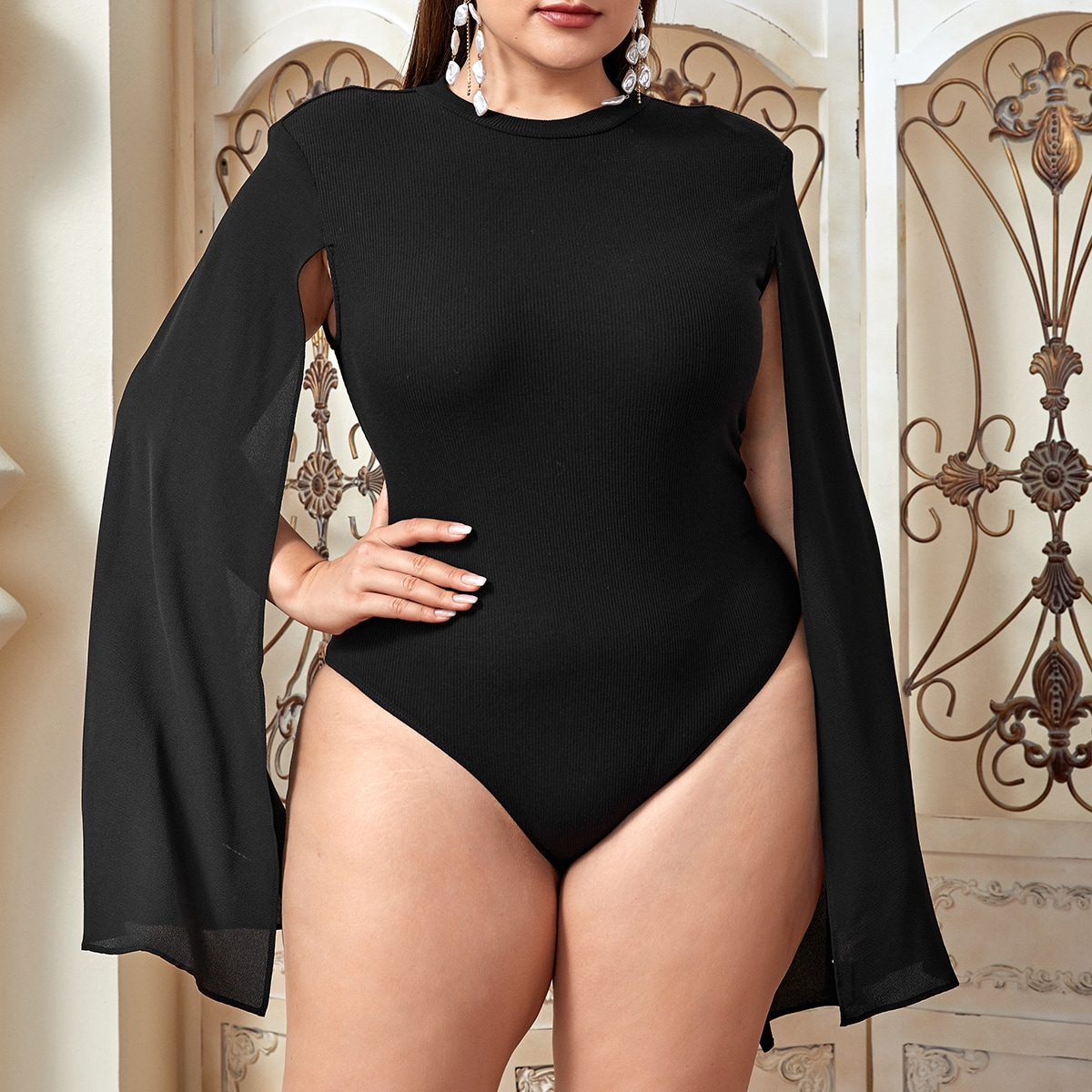 Plus Cloak Sleeve Fitted Bodysuit