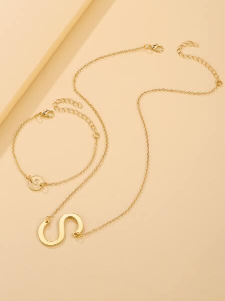 2pcs Letter Decor Jewelry Set