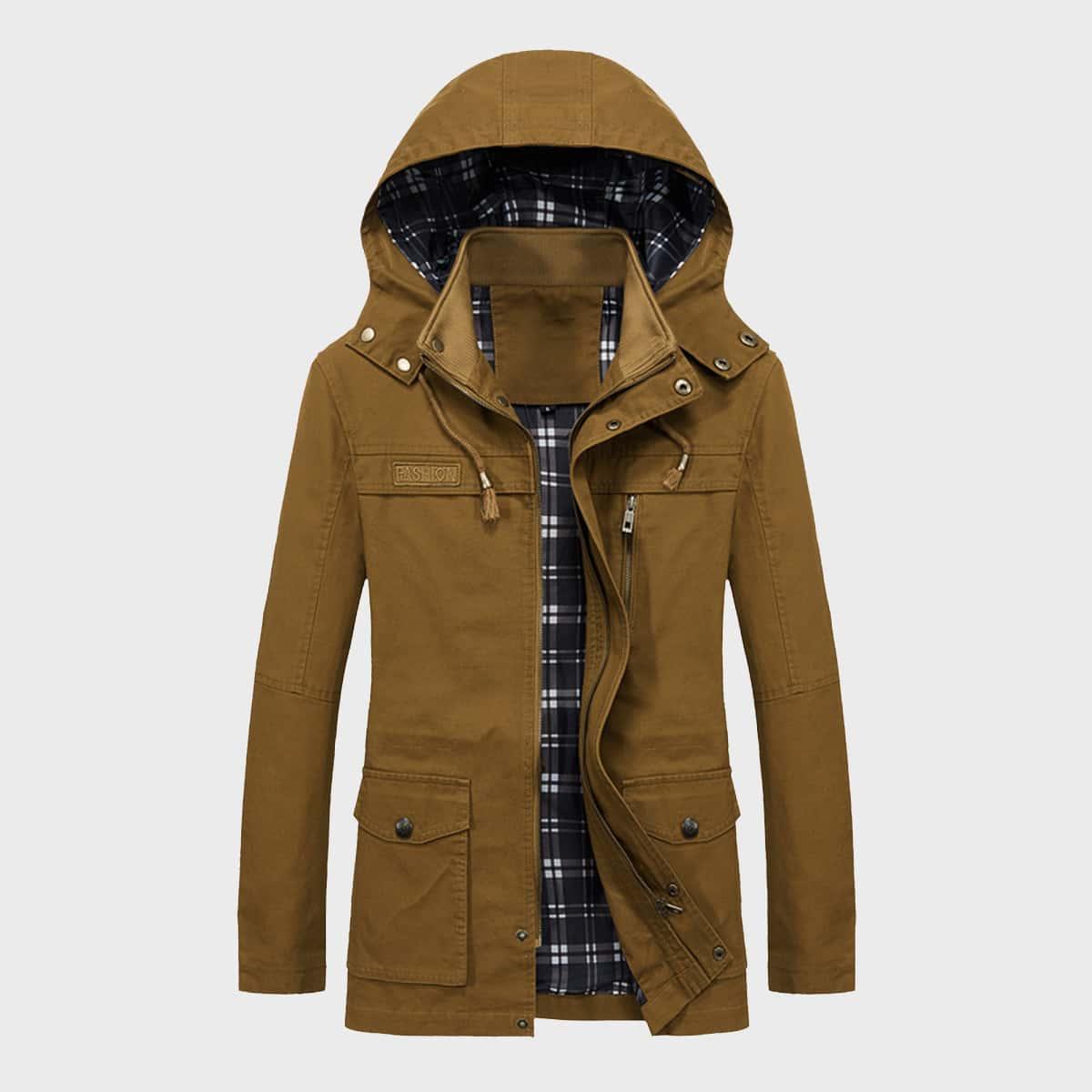 Мужское пальто на кулиске с капюшоном и карманом