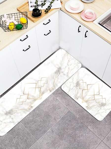 1pc Marble Pattern Kitchen Carpet