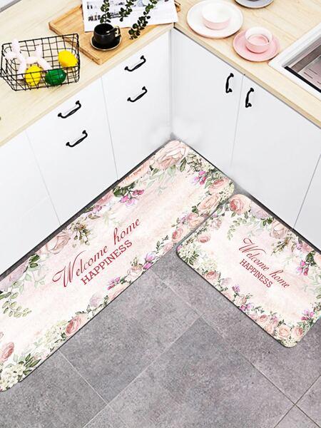 1pc Floral Pattern Kitchen Carpet