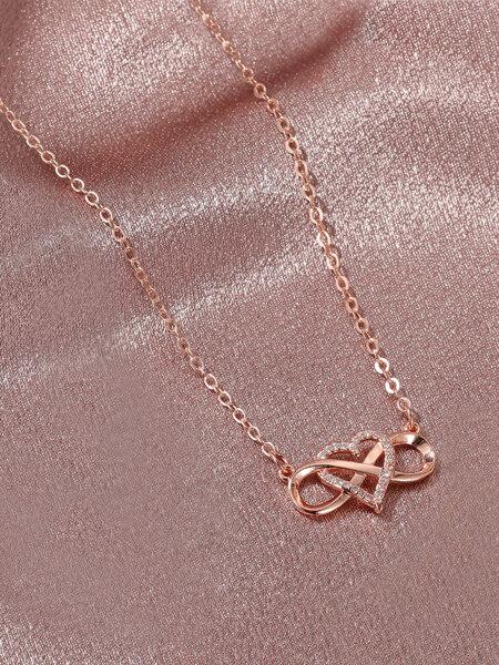 Rhinestone Heart Charm Necklace