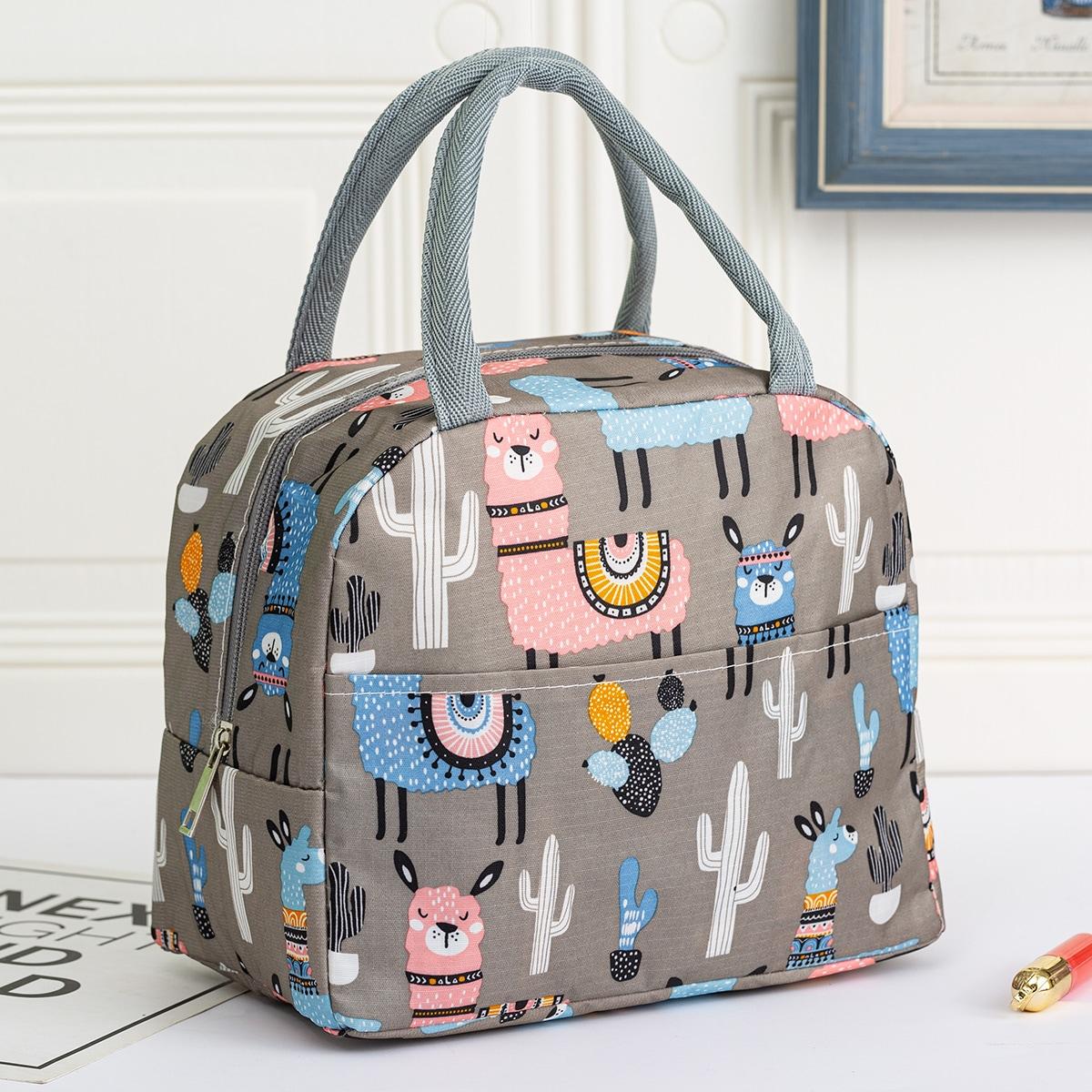 SHEIN / Alpaca Print Insulated Lunch Bag
