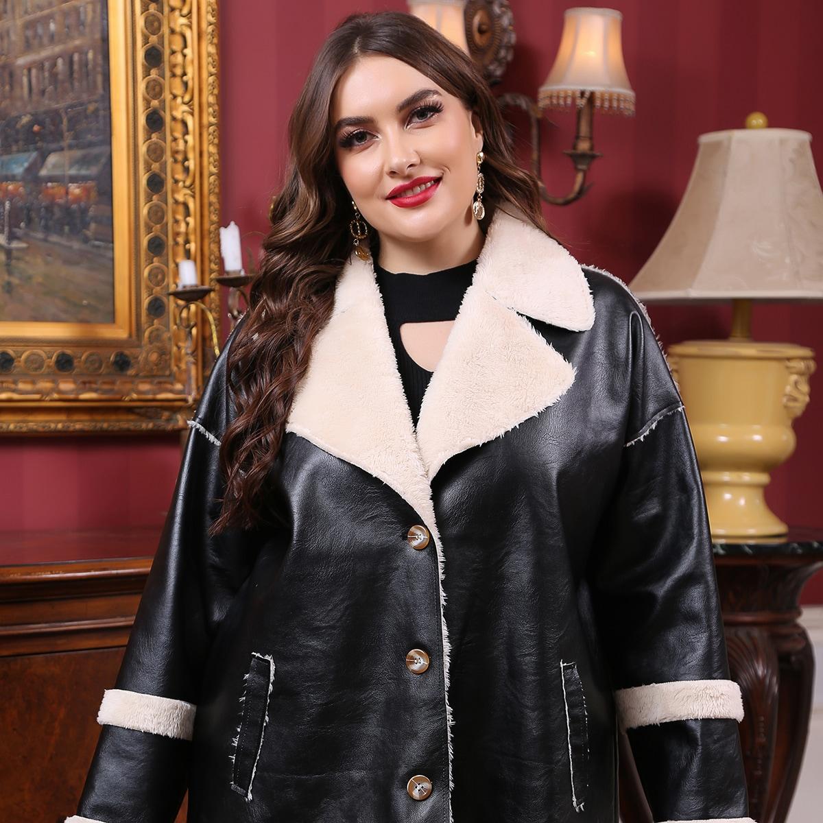 SHEIN / PU Leder Mantel mit Revers Kragen und Teddy Futter