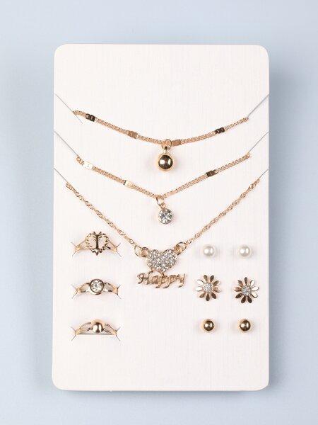 12pcs Rhinestone Decor Jewelry Set