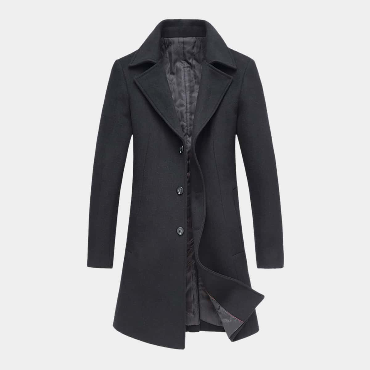 Men Lapel Collar Button Front Overcoat