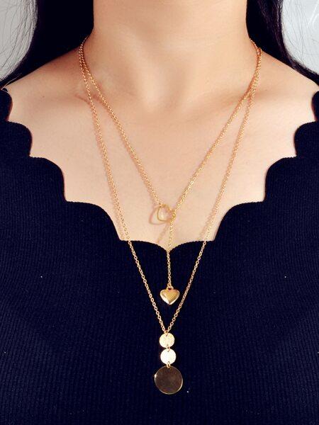 2pcs Heart & Disc Pendant Necklace