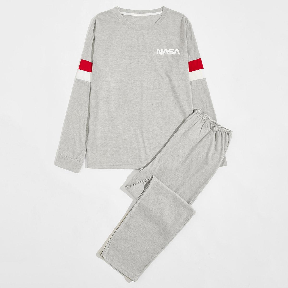 Conjunto de pijama con estampado de letra panel en contraste