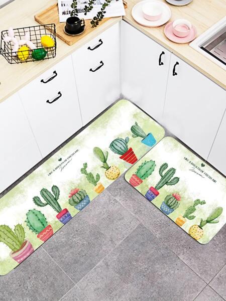 1pc Cactus Print Floor Mat