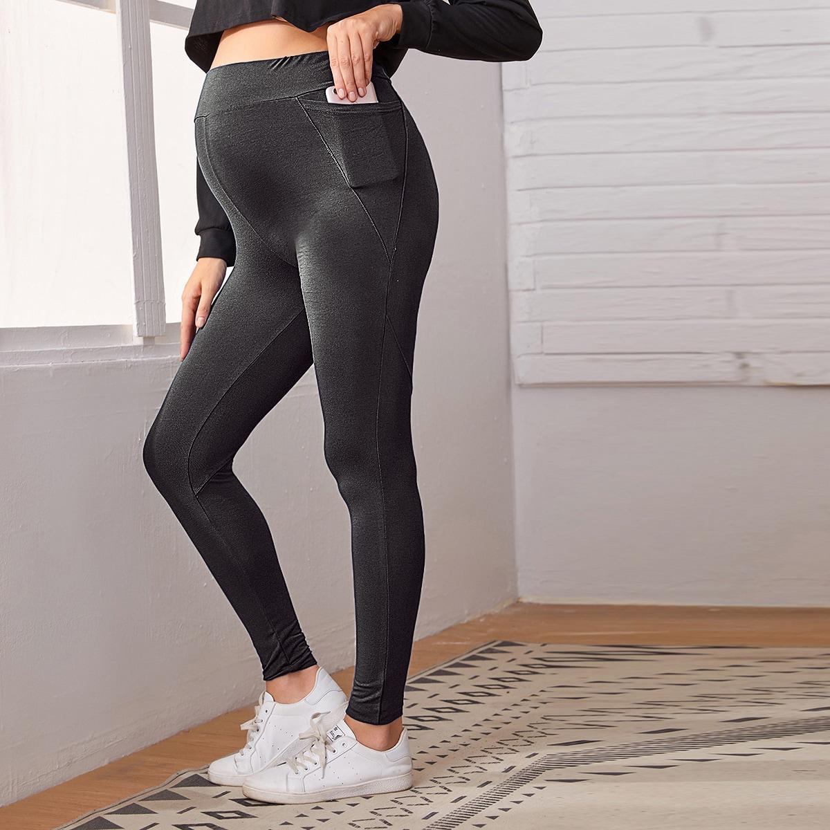 Леггинсы с высокой талией и карманом для беременных от SHEIN