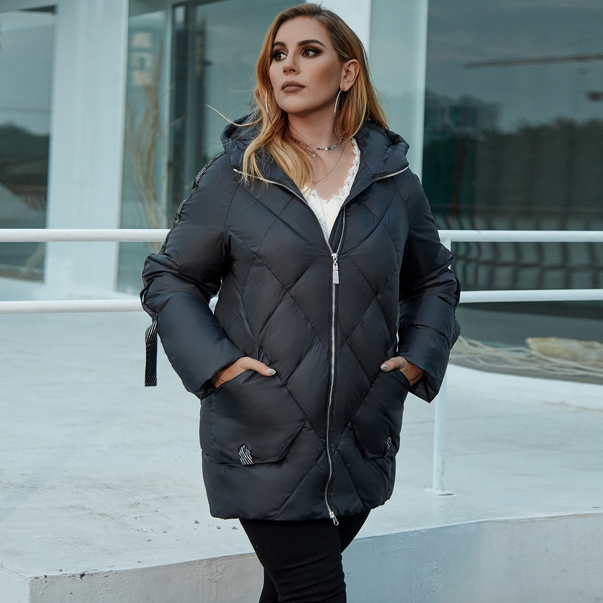 Astrid Plus Pocket Patched Hooded Padded Coat