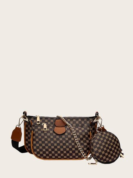 3pcs Geometric Graphic Baguette Bag Set