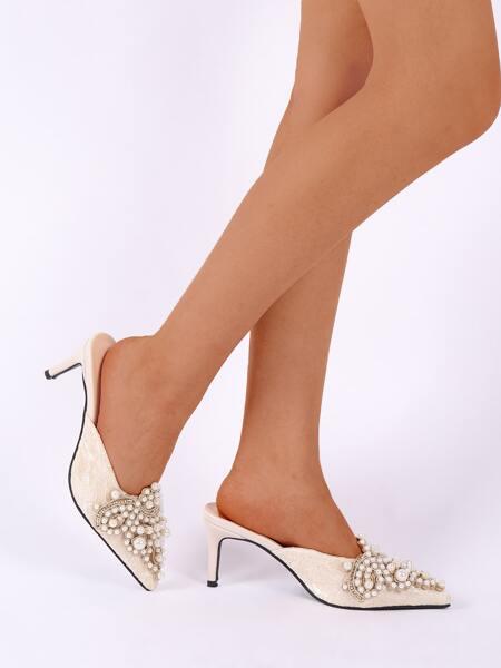 Faux Pearl Decor Lace Floral Stiletto Mules
