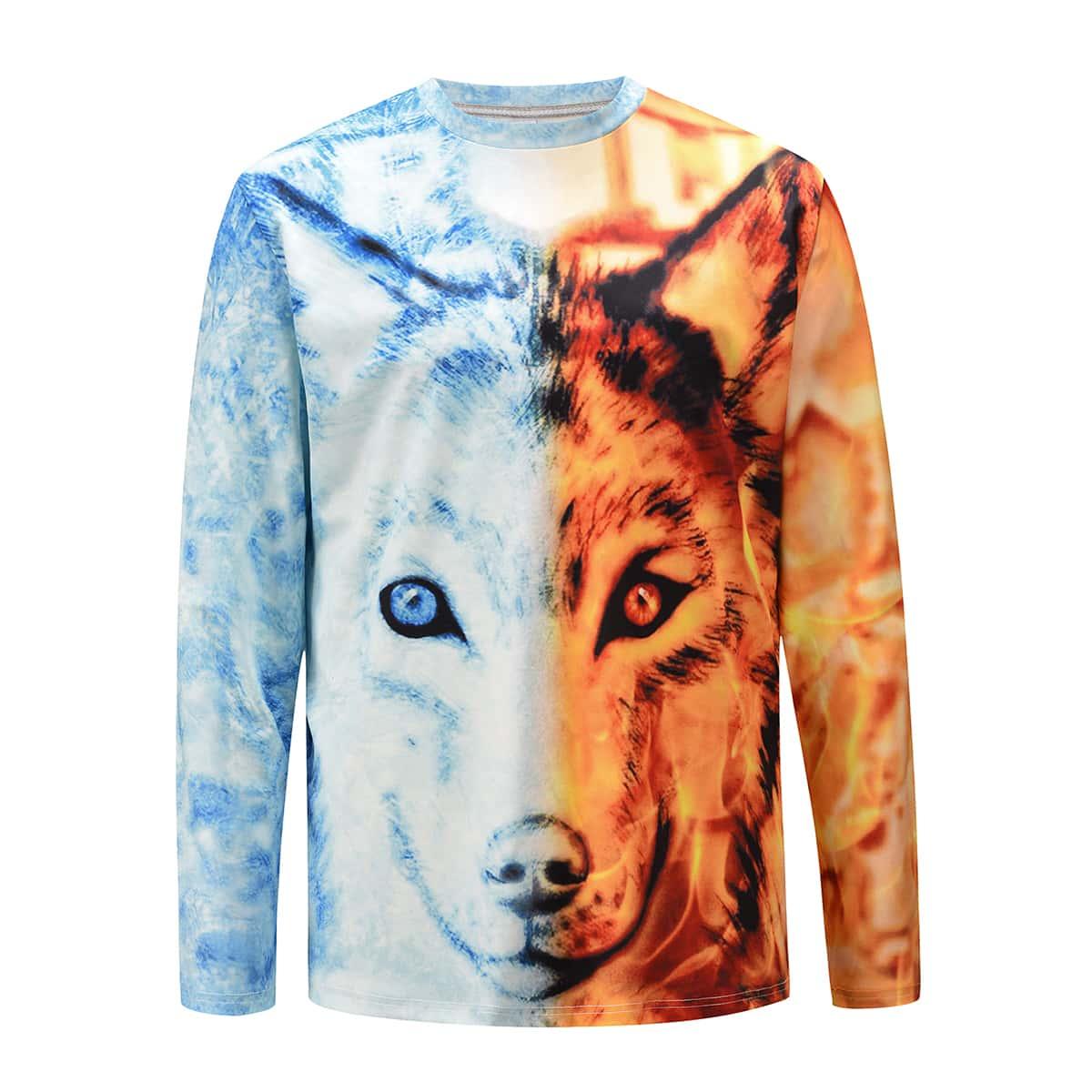 Camiseta de hombre con estampado de lobo en 3D de dos tonos
