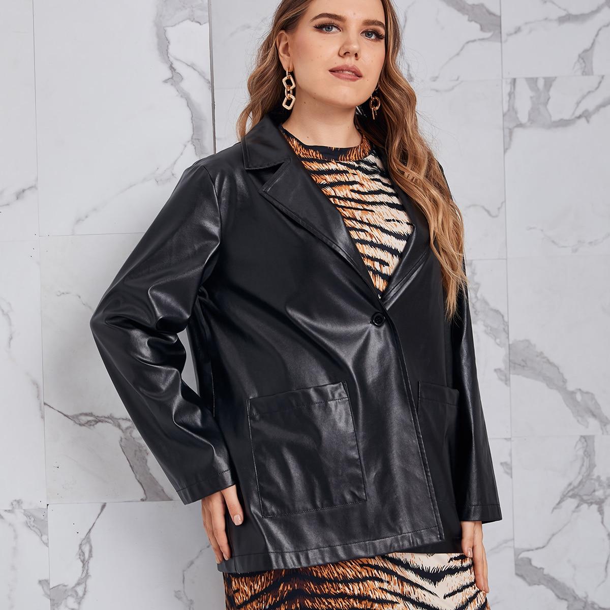 SHEIN / PU Leder Mantel mit Revers und doppelten Taschen