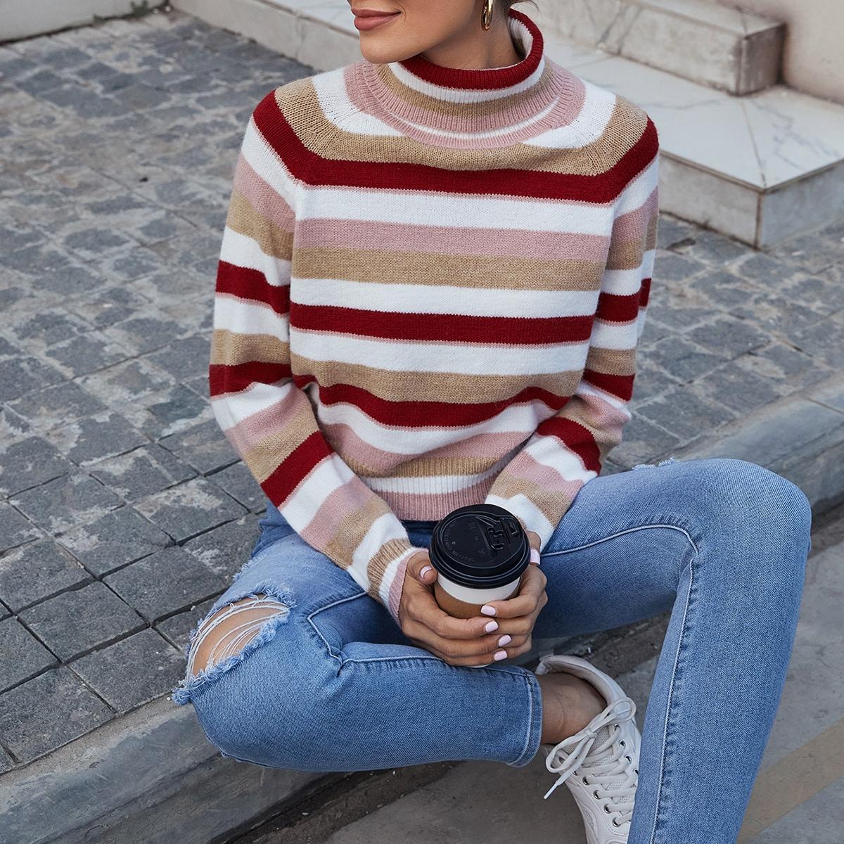 SHEIN / Pullover mit Rollkragen, Raglanärmeln und Streifen