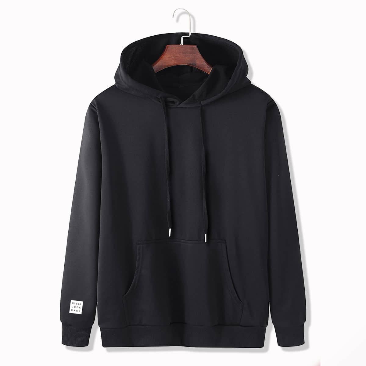 SHEIN / Men Patched Kangaroo Pocket Drawstring Hoodie