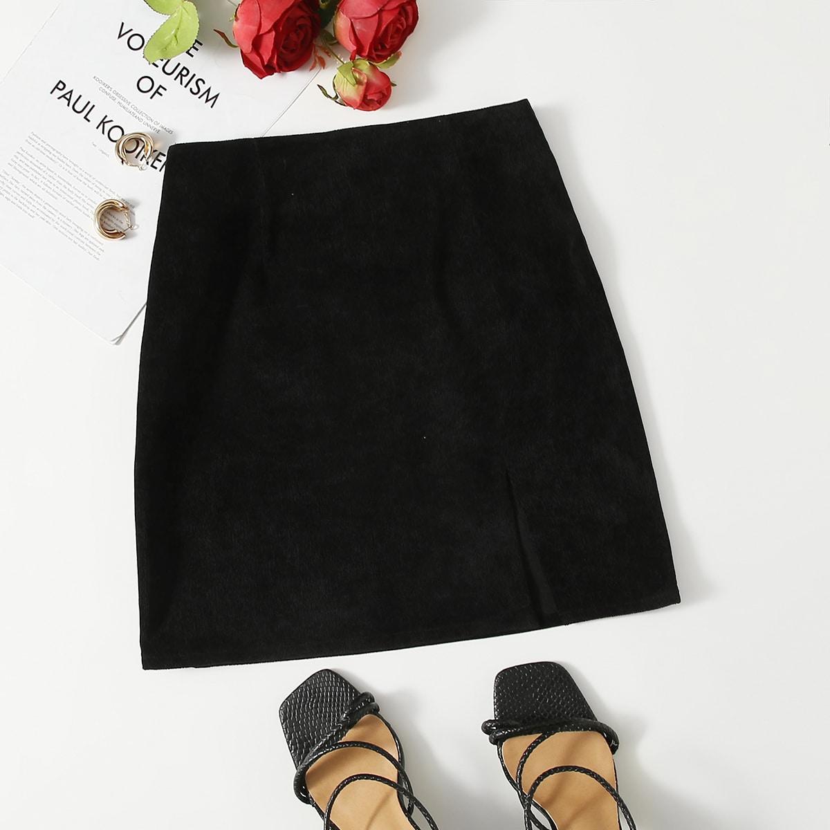 SHEIN / Zipper Side Split Hem Cord Skirt