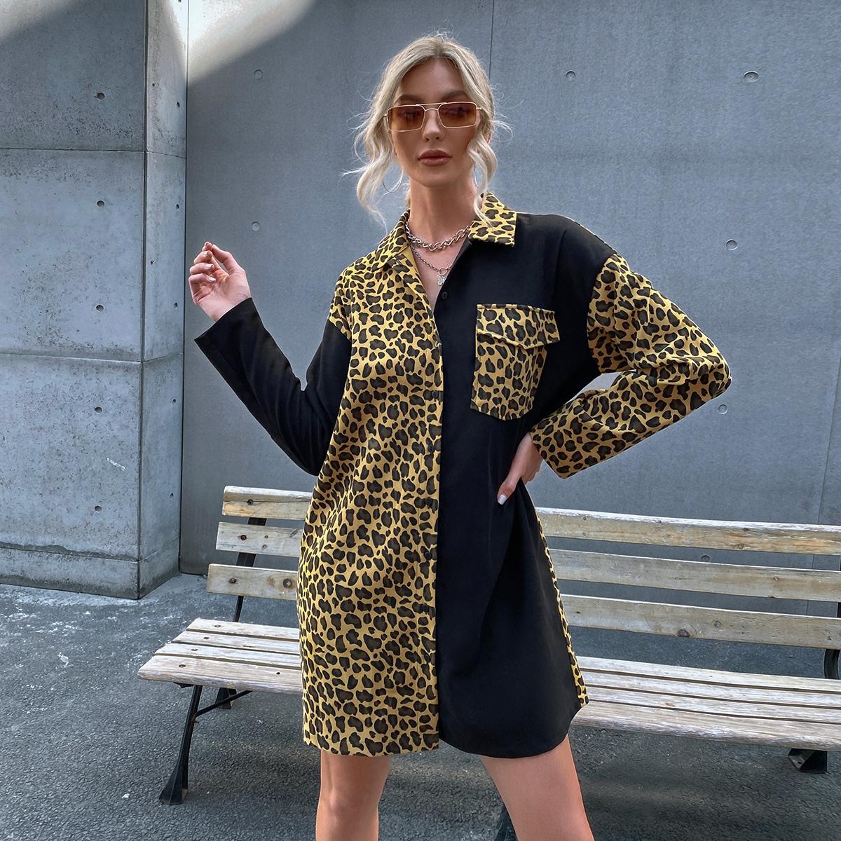 Vestido de leopardo de color combinado con bolsillo sin cinturón