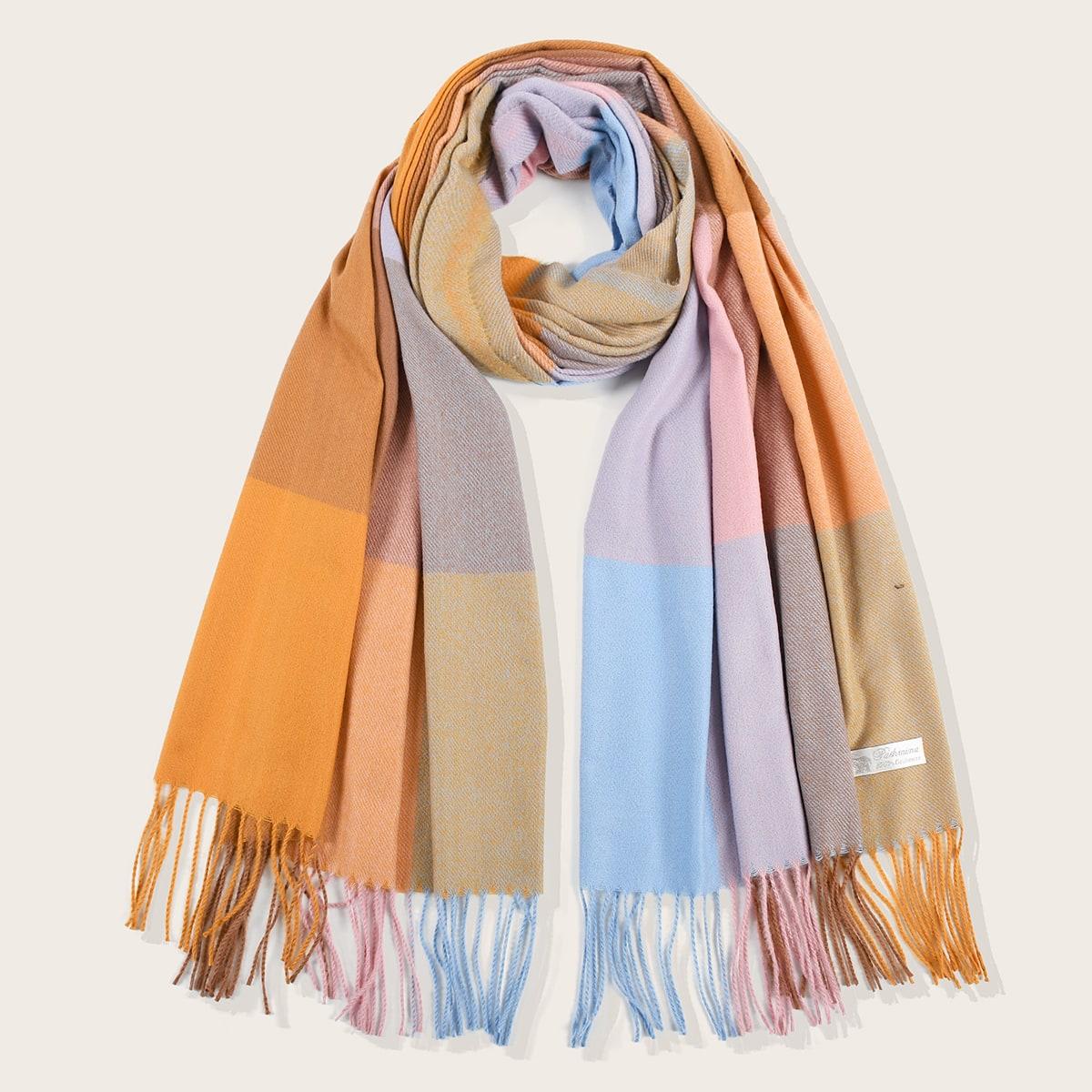 shein Sjaal met kleurblokken met franje