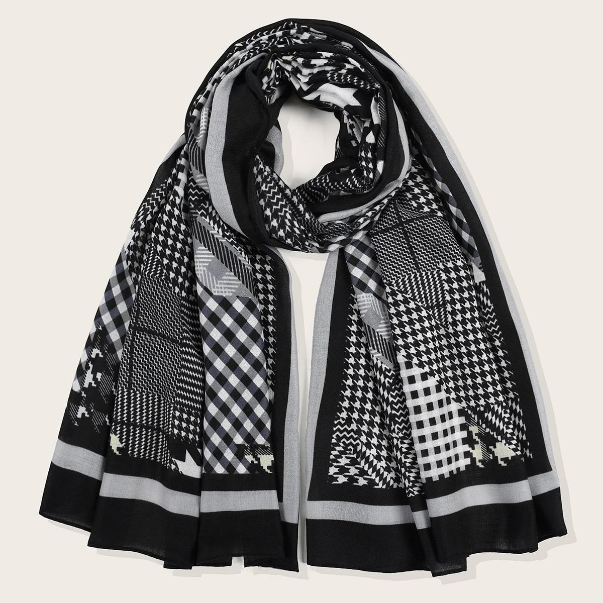 shein Pied-de-poule sjaal met franje zoom