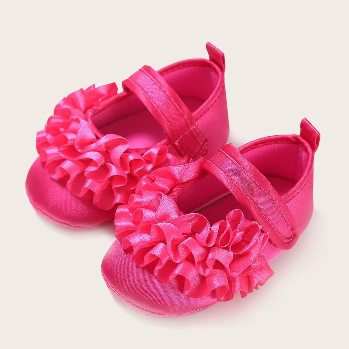 shein Baby Girl Ruffle Decor Velcro Strap Flats