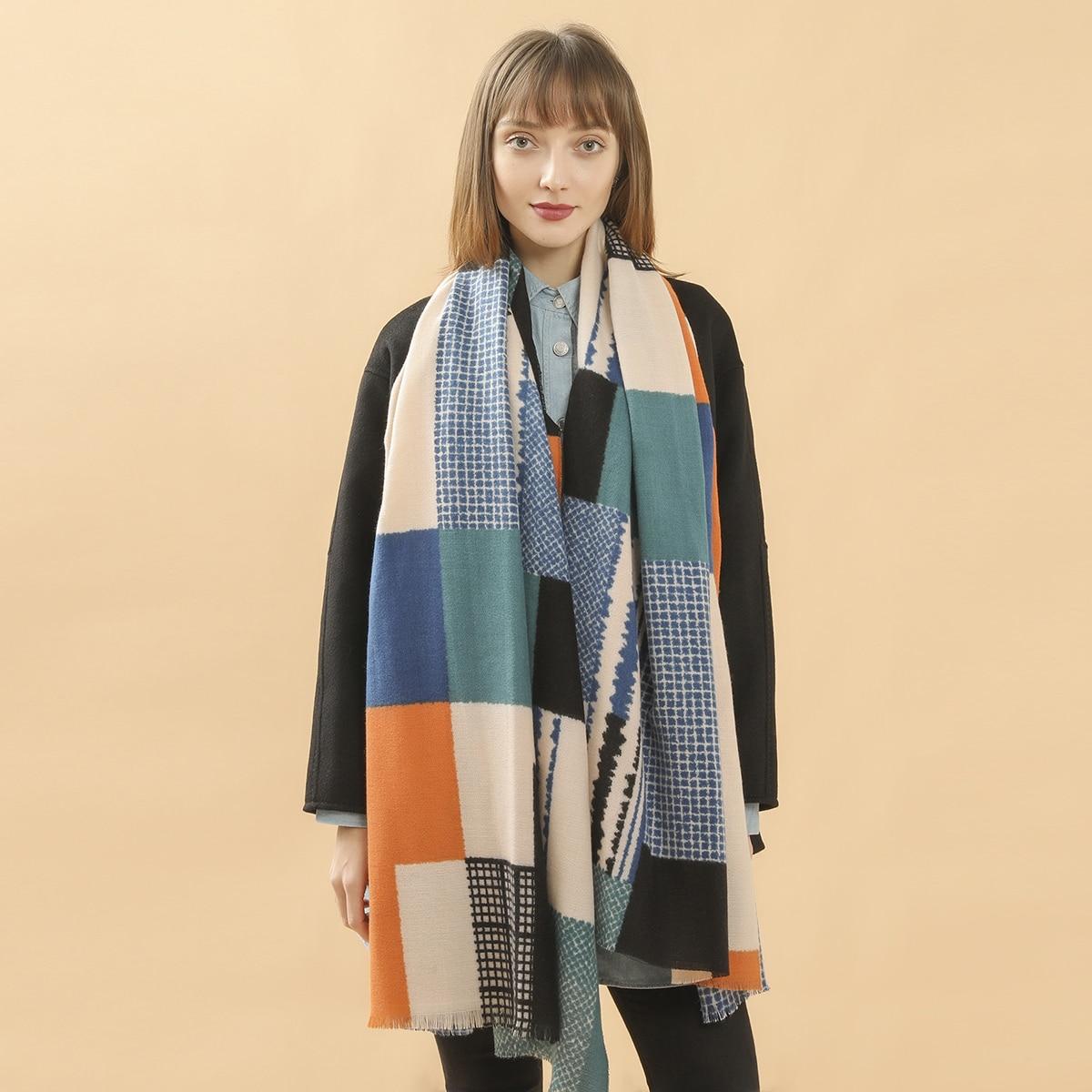 shein Colour Block Plaid Sjaal
