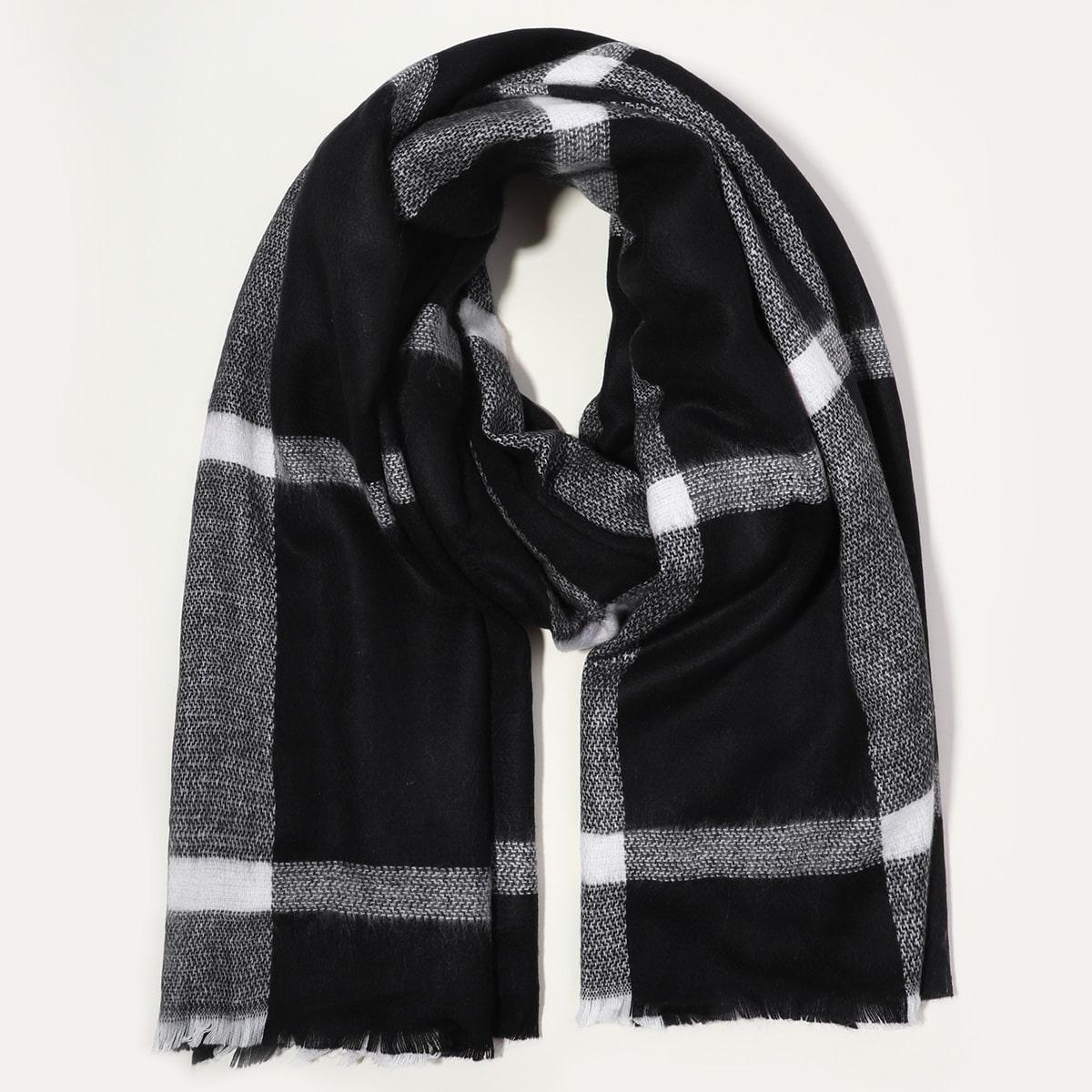 shein Geruite sjaal met onafgewerkte zoom