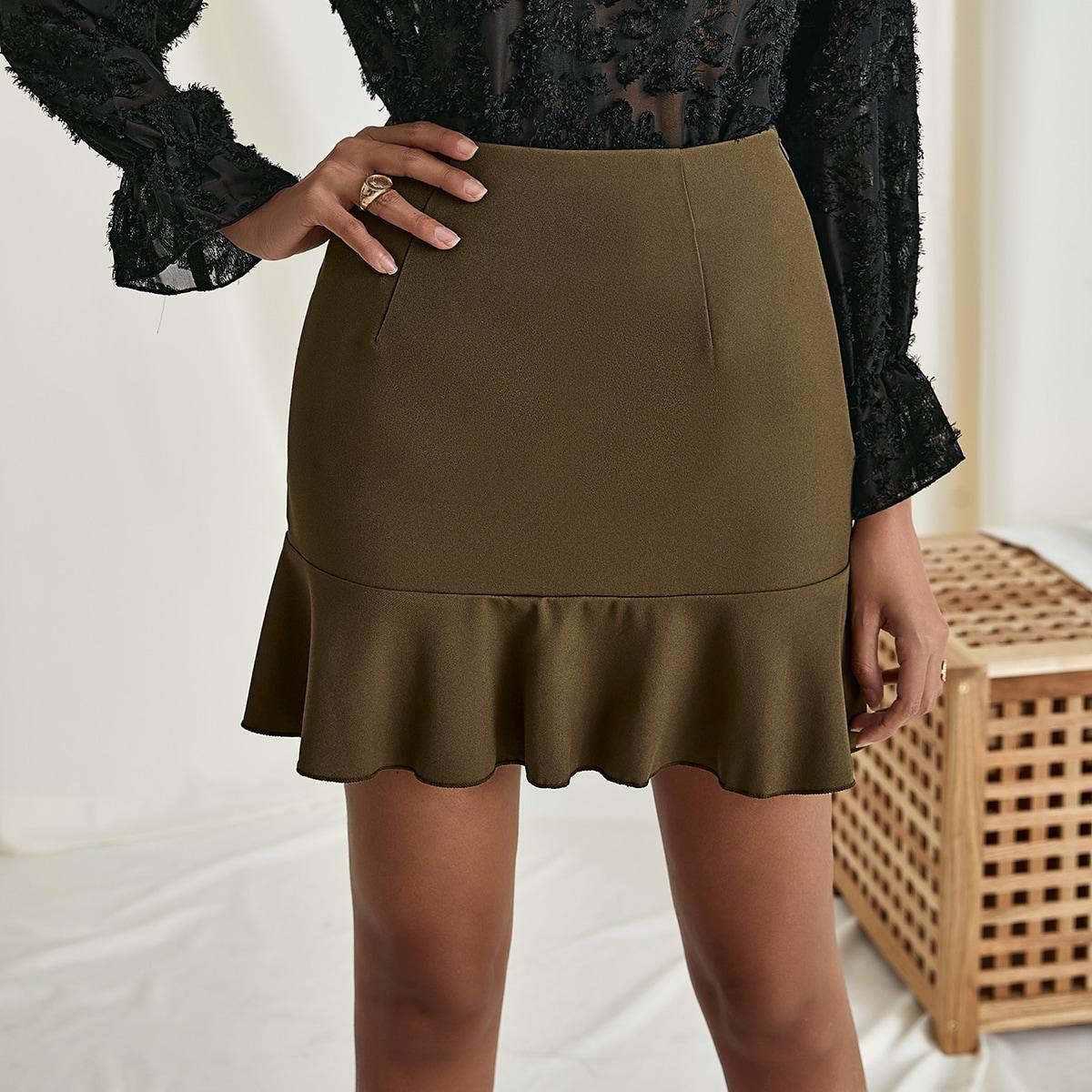 Falda bajo con fruncido de cintura alta