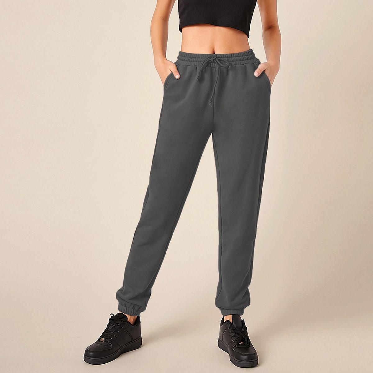 Pantalones deportivos unicolor de cintura con cordón