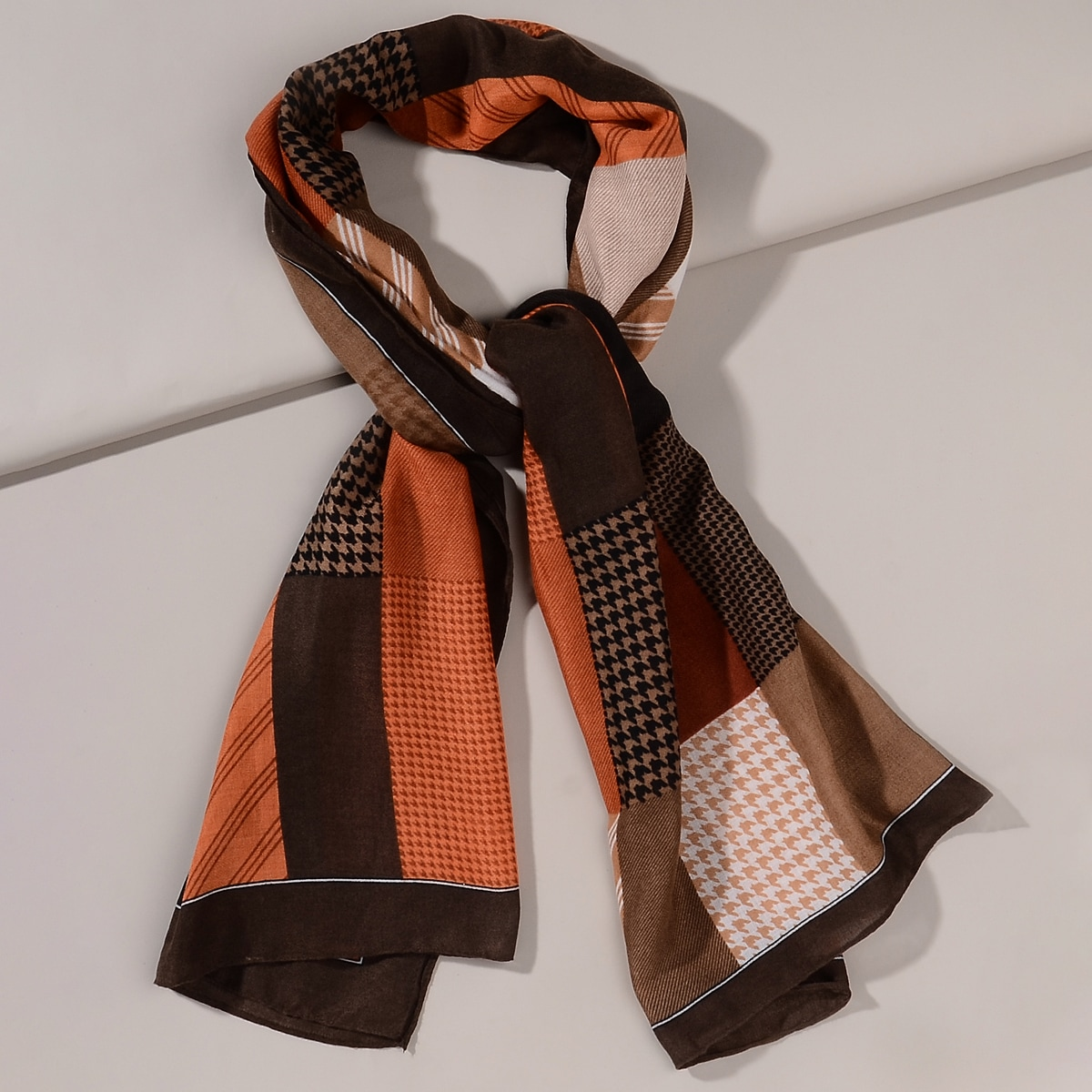 shein Sjaal met kleurblokken in pied-de-poule