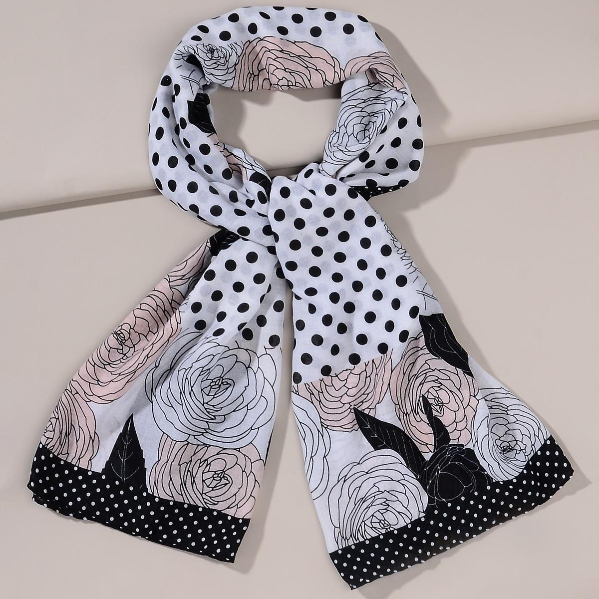 shein Sjaal met bloemenprint en stippen