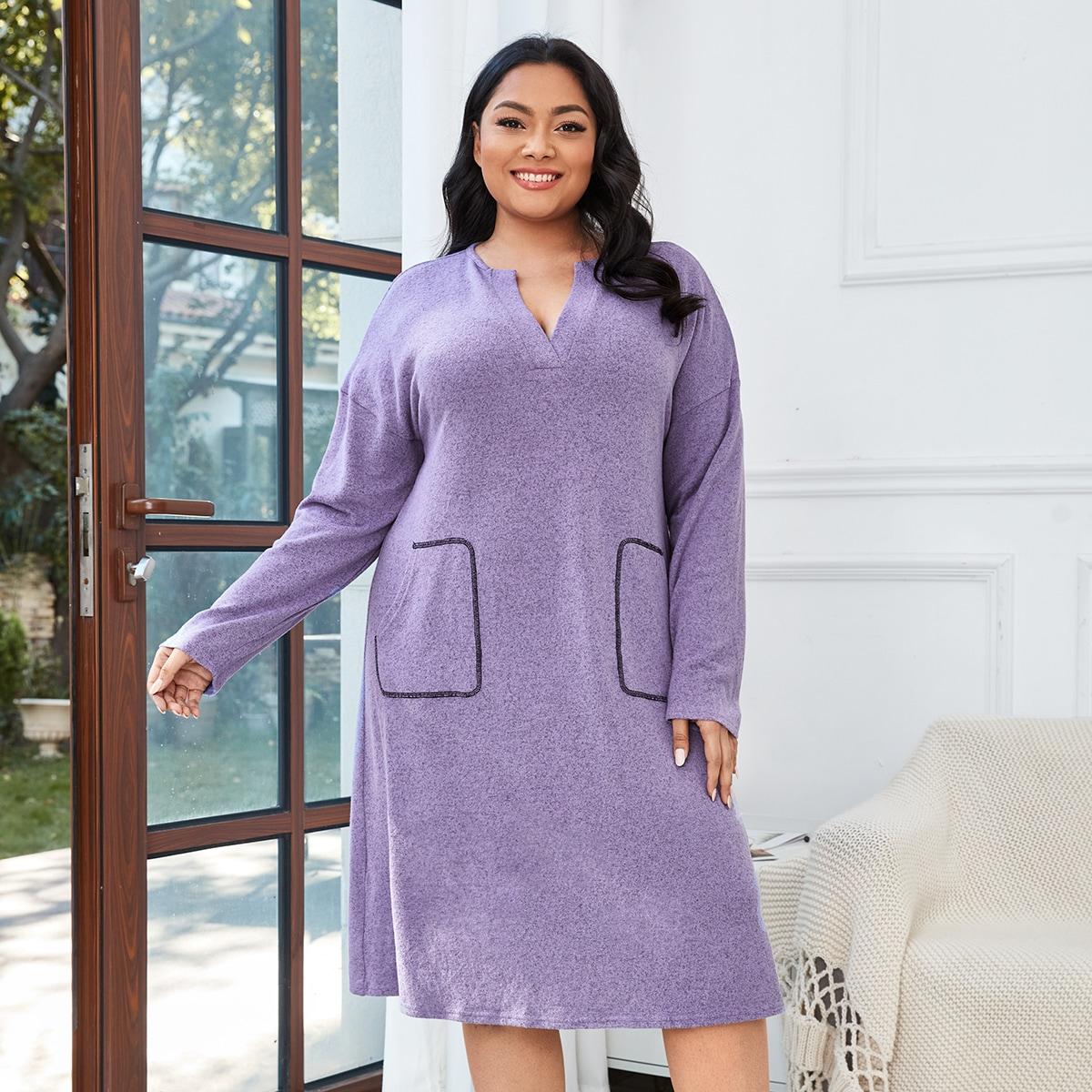SHEIN / Plus Notch Neck Double Pocket Night Dress
