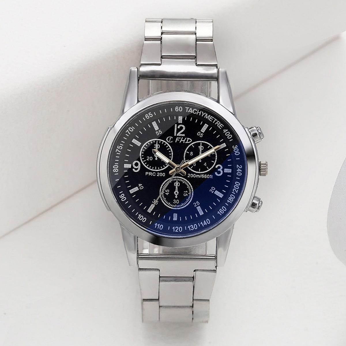 Men Simple Round Pointer Quartz Watch