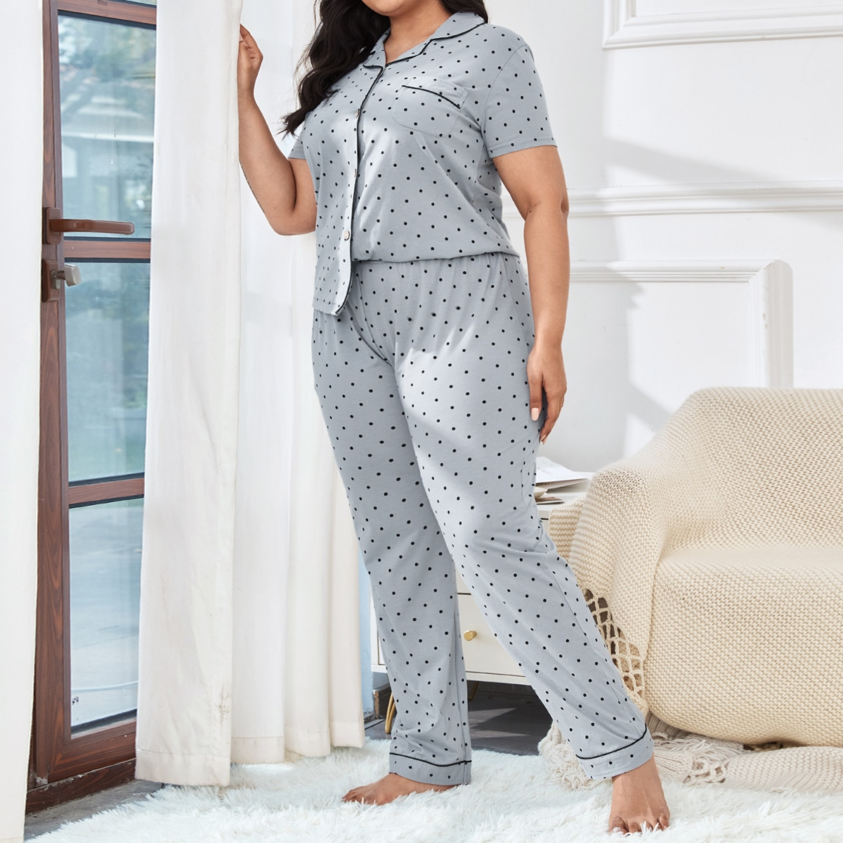 Conjunto de pijama de lunares