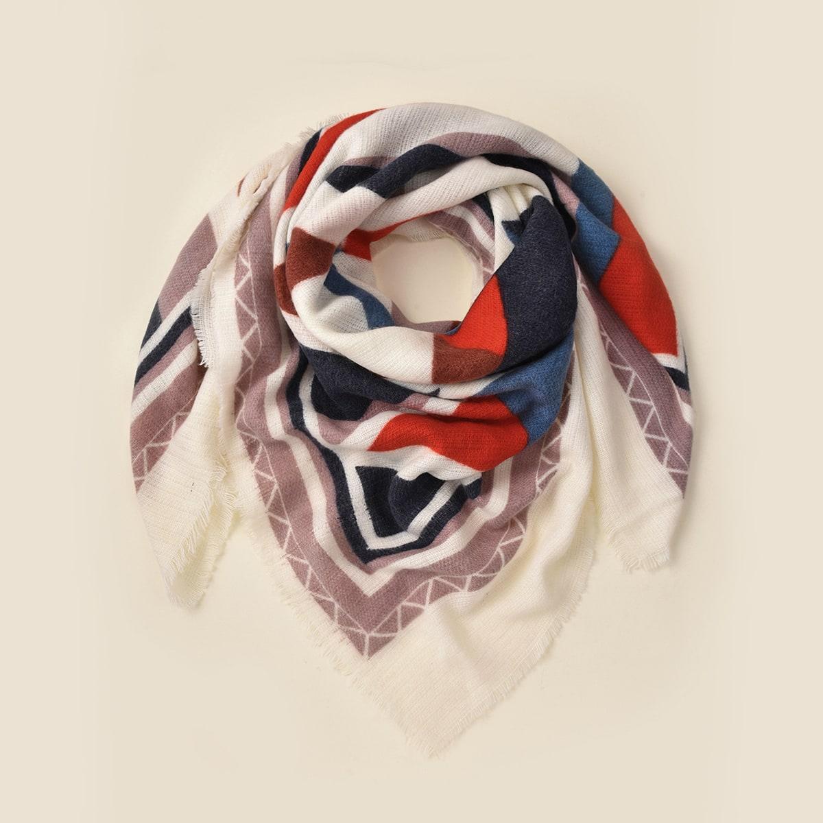shein Raw Hem Geo print sjaal