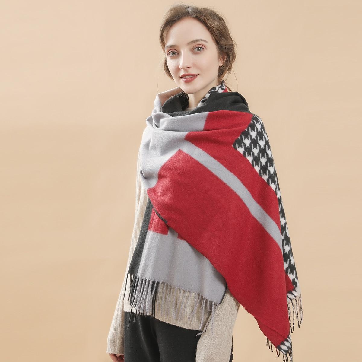 shein Pied-de-poule sjaal met zoom met franjes