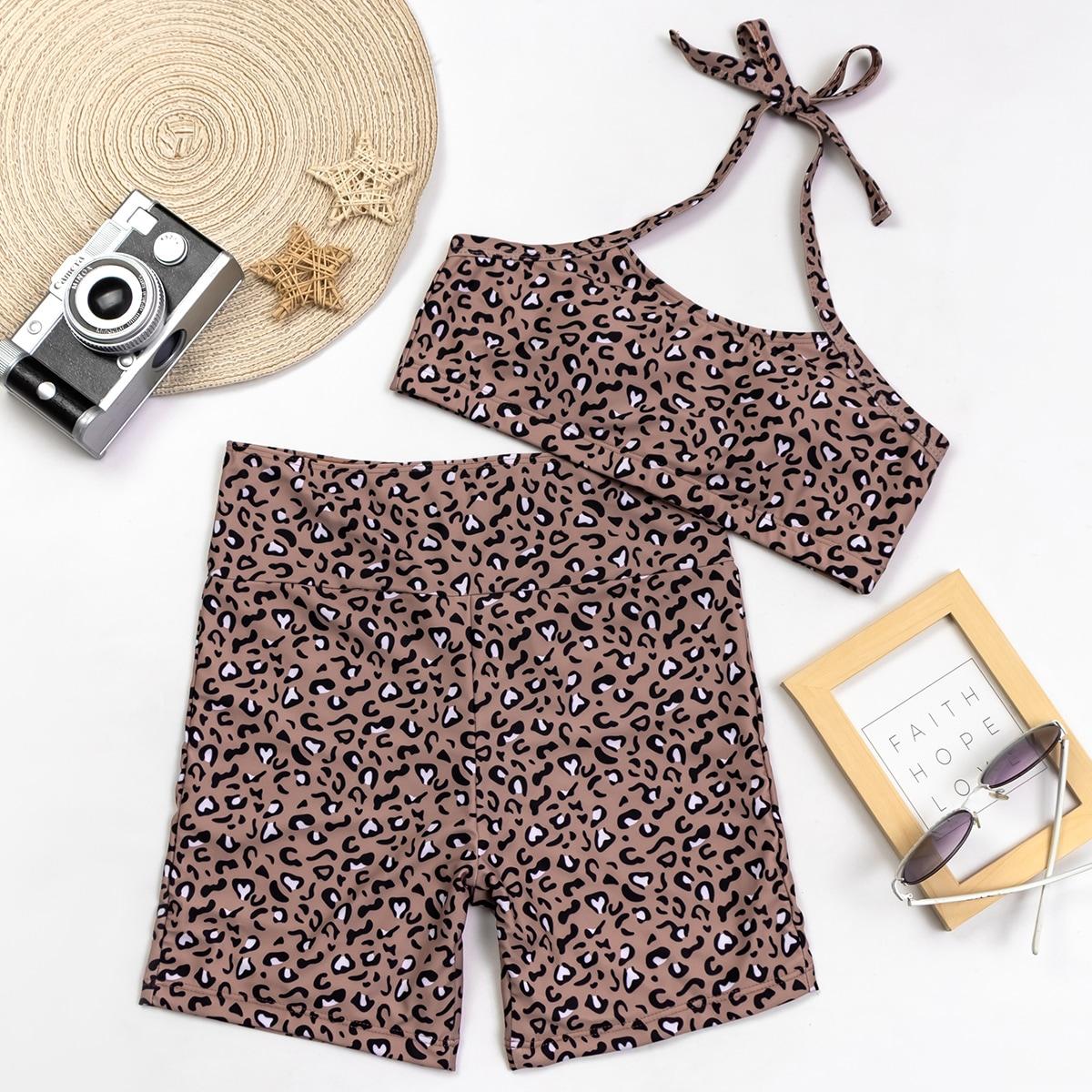 SHEIN / Allover Graphic Shorts Bikini Swimsuit