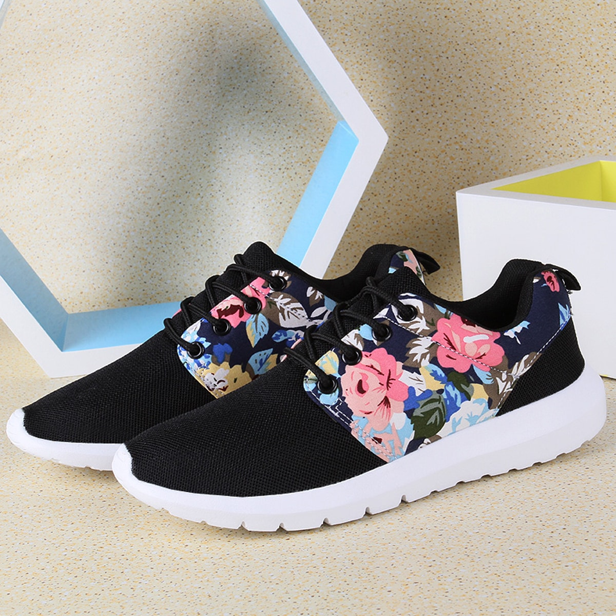 SHEIN / Lace Up Front Floral Sneakers