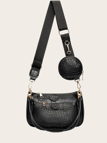 3pcs Croc Embossed Baguette Bag Set