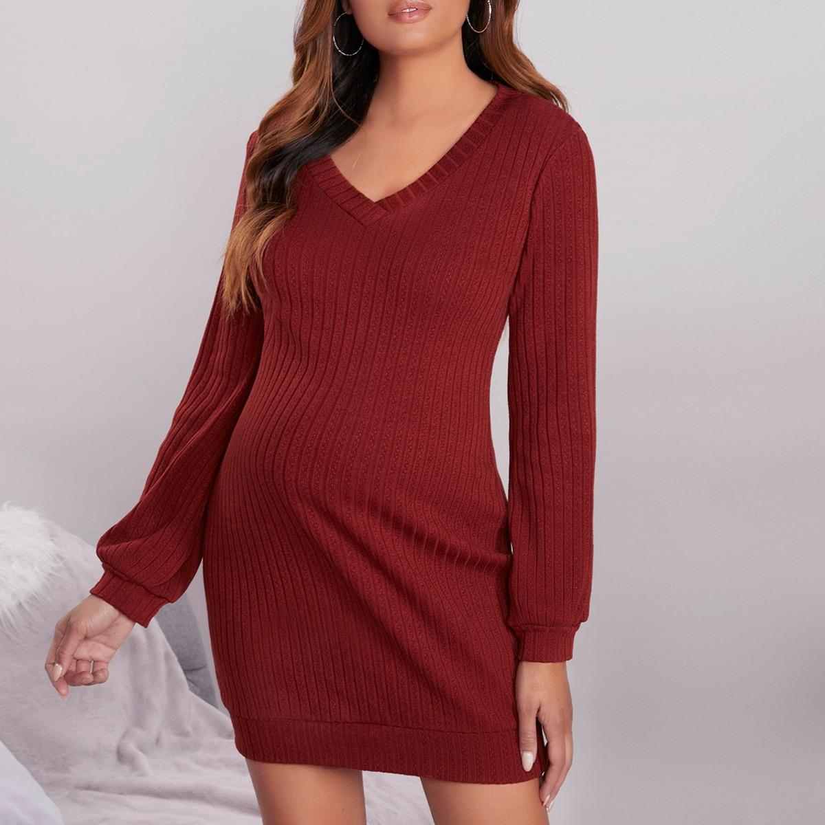 трикотажный Одноцветный Элегантный Платья для беременных от SHEIN