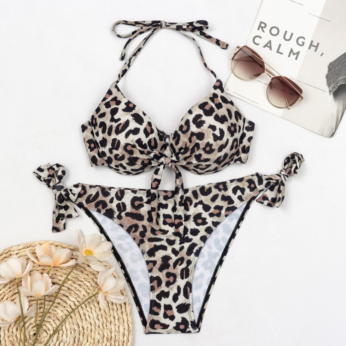 SHEIN / Leopard Push Up Tie Side Bikini Swimsuit