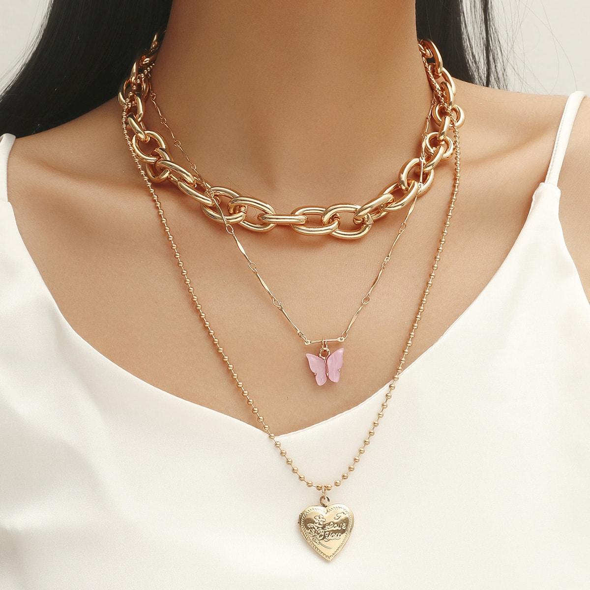 SHEIN / 3 Stücke Halskette mit Herzen & Schmetterling Anhänger