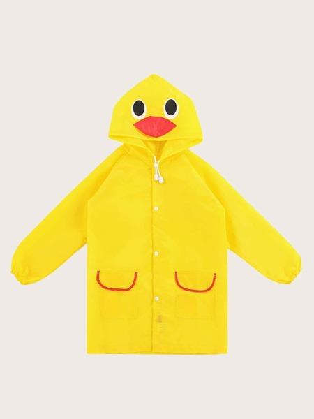 Kids Cartoon Graphic Hooded Raincoat